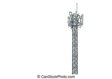 Communication tower in Thailand isolated on white background
