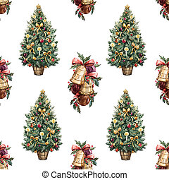 Watercolor Christmas tree pattern - Beautiful watercolor...