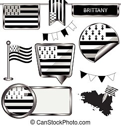 Glossy icons with flag of Brittany - Vector glossy icons of...