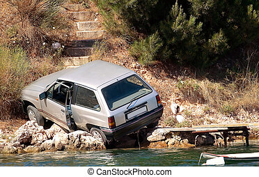 Car accident - Accident - a car crashed near the sea.