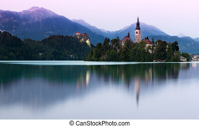 Lake Bled in evening light, Slovenia