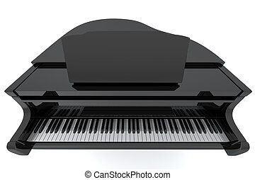 Grand Piano - Black grand piano isolated on light background