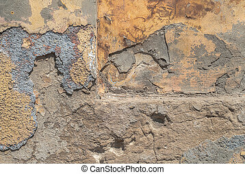 old chipped plaster background - fragment of a concrete...