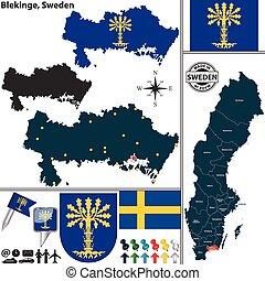 Map of Blekinge, Sweden - Vector map of county Blekinge with...
