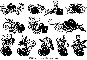 Black floral design element - Big set of black floral design...