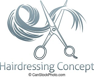 Hairdressing Conceptual icon of a pair of scissors cutting a...