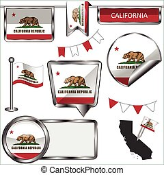 Glossy icons with flag of California - Vector glossy icons...