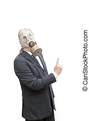 Businessman with gas mask pointing his index finger up