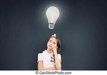 Let me think - Cute thoughtful school girl and light bulb...