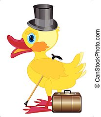 Duckling with cylinder on head and valise on white...