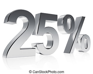 Realistic silver rendering of a symbol for 25 % discount or gain