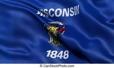 Wisconsin state flag loop - Realistic Wisconsin state flag...