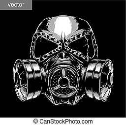 gas mask illustration - engrave isolated gas mask vector...