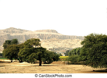 Valley of Nil, in the distance tombs of slaves of pharaohs