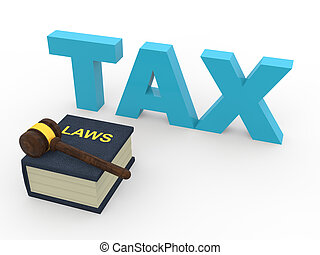 3d tax laws concept with gavel
