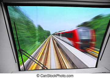 view from cabin - view of high-speed way for train from...