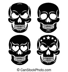Halloween human skull design - Vector icons set of skulls...