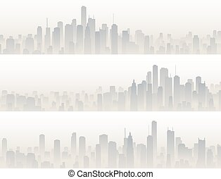 Banners of big city in haze. - Set horizontal banners of big...