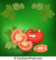 Tomato. Healthy lifestile - Tomato. Label, there is a place...