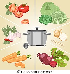 Set of vegetables necessary for making soup. Healthy food.