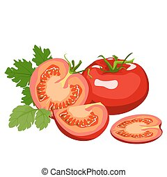 Tomato. Healthy lifestile - Tomato whole and cut into slices...