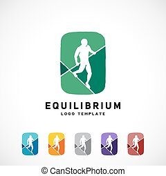 Equilibrist or a Tightrope Walker Abstract Vector Sign, Logo...