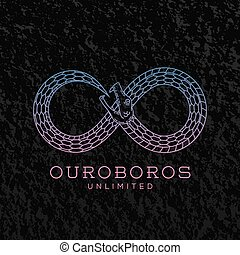 Abstract Vector Infinite Ouroboros Snake Symbol, Sign or a...