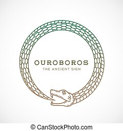 Abstract Vector Ouroboros Snake Symbol, Sign or a Logo...