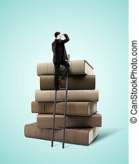 businessman standing on books - businessman standing on...