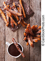 vertical, topo,  churros, quentes,  close-up,  chocolate, vista