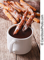 biscoitos,  vertical,  churros, quentes,  close-up,  chocolate