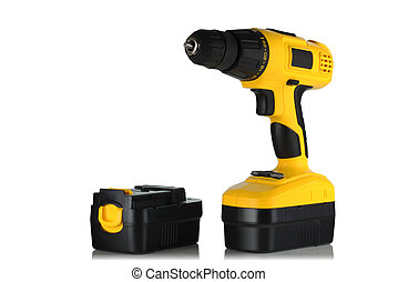 cordless drill screwdriver and battery on a white background