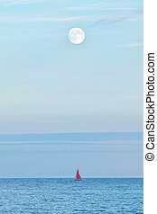 sobre, cheio, lua, oceânicos