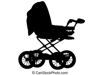 Baby carriage on a white background