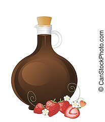 balsamic vinegar and strawberries - a vector illustration in...