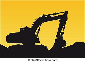 bulldozer - a bulldozer on a sunset