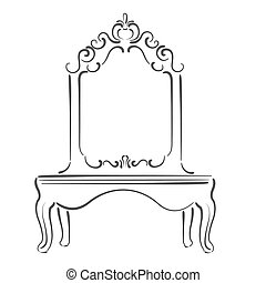 Sketched mirror illustration - Sketched vintage mirror...