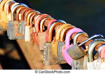 Padlocks - Series of the padlocks on the dark background