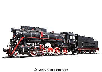 vapor, locomotora, aislado