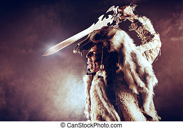 barbarian - Ancient warrior Barbarian. Ethnic costume....