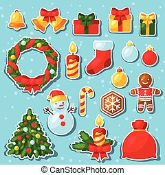 Set of Merry Christmas and Happy New Year sticker icons