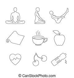 Yoga icons set - Yoga icons set, thin line style, flat...