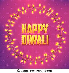 Happy Diwali background decorated with light - illustration...