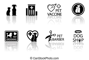 veterinary icon set with reflection