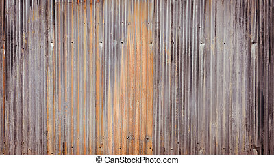 Corrugated metal wall background - Rusty corrugated...