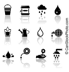 water icon set with reflection - black water icon set with...