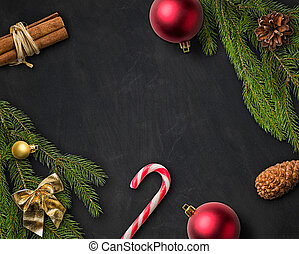 Christmas Decorations on a blackboard
