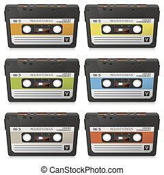 Old Colored Vintage Vector Audio Cassettes Collection - Colored Set