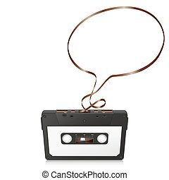 Audio Cassette with Abstract Curved Tape - Speech Bubble