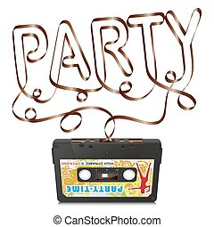 Audio Cassette with Abstract Curved Tape - Party